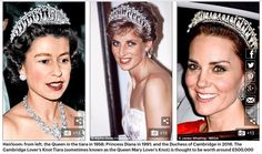 Queen Elizabeth, Princess Diana and Duchess of Cambridge wearing the Cambridge Lover's Knot Tiara (sometimes known as the Queen Mary Lover's Knot) is thought to be worth around half a million pounds.