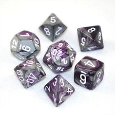Set of 7 Chessex Gemini Purple and Steel w/white RPG Dice - Board Games