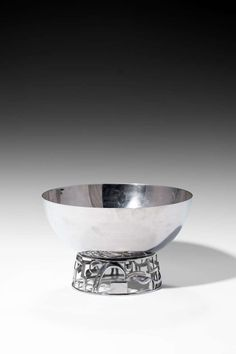 Art Deco Nickel Brass Plated Fruit Bowl (c.1930) by Karl Hagenauer for Werkstätten Hagenauer, Austria