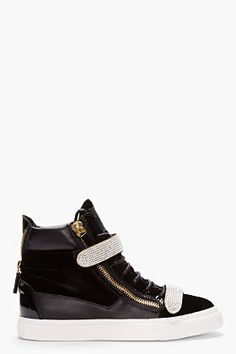1e40e3d7ca29 GIUSEPPE ZANOTTI Black Velvet Swarovski Crystal Sneakers