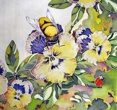 Painting on silk by Russian artist of applied art Maria Kaminskaya
