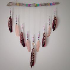 Boho Feather Wall Hanging Painted Wood Dream Catcher Boho