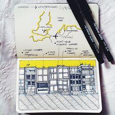 Amsterdam: Borneo-Sporenburg. Residential designed by West 8. Yellow marker: sharpie mate  Artline pen: size 0.2 and 0.4