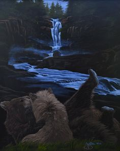 """For Sale: Bears playing by the river waterfall forest by Martha Seale   $500   30""""w 36""""h   Original Art   https://www.vangoart.co/marthasealeart/bears-playing-by-the-river-waterfall-forest-7a278bb7-f713-4953-8f24-4e74486aa27c @VangoArt"""