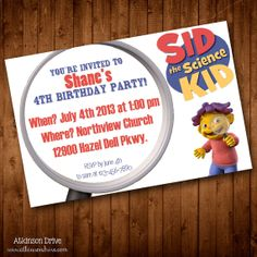 "Printable ""Sid the Science Kid"" Children's Birthday Party Invitation"