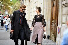 another tres chic duo. #UlyanaSergeenko & #FrolBurimskiy in Paris.