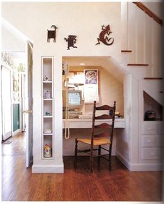 Great desk nook under the stairs