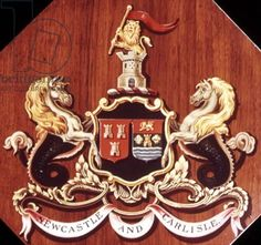 Handpainted armorial device of the Newcastle and Carlisle Railway and the emblem of the Caledonian Railway with the Scottish coat of arms