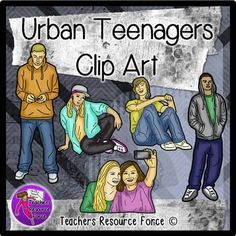 Urban Teenager Clip Art (color and black line!)