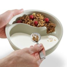 Never-Soggy Cereal Bowl  With this clever bowl design, you don't have to scarf your cereal down knowing that it's going to be soggy before...