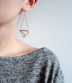 Geometric triangle pyramid metallic dangle earrings