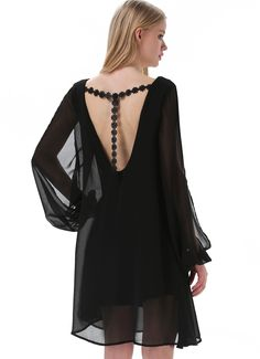 Sheinside Black V Neck Split Long Sleeve Embroidered Dress 35.80