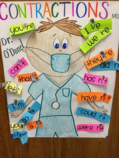Contraction Surgery. Love this idea for introducing (or practicing) contractions. Very tactile and fun!