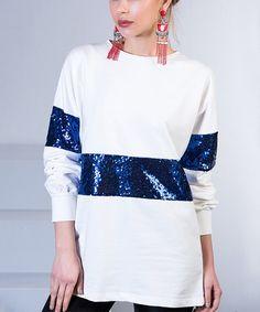 Love this White & Blue Sequin-Contrast Top - Women on #zulily! #zulilyfinds
