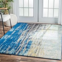 nuLOOM Modern Abstract Vintage Blue Area Rug (5'3 x 7'9)