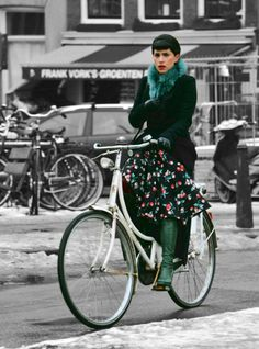 Florals aren't just for spring. Amsterdam street style.