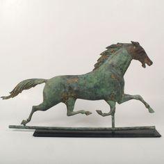 Antique Vintage J.W. Fiske Cast Iron + Patchen Copper Running Horse Weathervane #JWFiske
