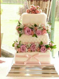Fresh flower three tier wedding cake