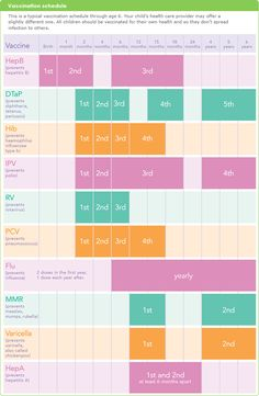A recommended infant vaccination schedule via March of Dimes.