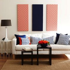 Living Room - Could do this above the TV, one horiz. 2- vertical - fabric wrapped canvas // Red, White, and Blue Living Room