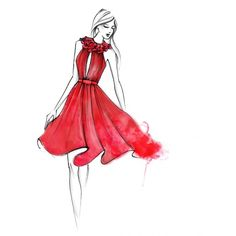 Red Ruffle Sketch (€350) ❤ liked on Polyvore featuring sketch, fillers, drawings, backgrounds, art, detail and embellishment