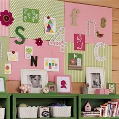 Pink & green notice board