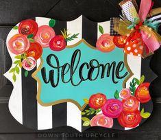 floral doorhanger Yard decor, signs, seasonal home items galore! Burlap Door Hangers, Wooden Hangers, Letter Door Hangers, Initial Door Hanger, Cross Door Hangers, Wooden Door Signs, Diy Wood Signs, Wood Doors, Welcome Signs Front Door