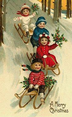 Christmas sleigh ride postcard.