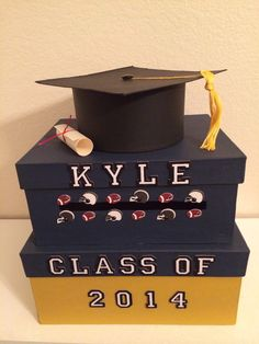 Two Tiered Square Custom Blue and Yellow Graduation Card Box on Etsy, $40.00