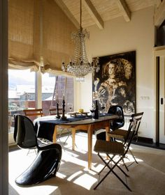 I know the painting is 'over the top' but the window treatments, chairs, tables wow it works....