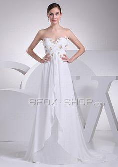 A-Form Chiffon Hochzeit Brautkleid mit Spitze und Perlen