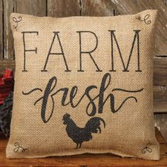 Farm Fresh Burlap Pillow