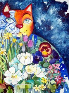 Chat en printemps - Painting,  30x40 cm ©2011 von Oxana Zaika -  Malerei