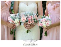 blush pink and mint green and grey wedding bride bouquets with roses, peonies, dusty miller, and heather... gorgeous!! www.carrievines.com flowers by Wisteria Grove http://wisteriagrove.com/