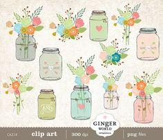 Mason Jar Clip Art Rustic Wedding Flowers Clipart By GingerWorld