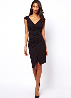 Black V Neck Asymmetrical Bodycon Dress - Fashion Clothing, Latest Street Fashion At Abaday.com