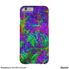Stunning Barely There iPhone 6 Case  Stunning, brilliant, and striking this colorful iphone6 design is my artistic spin on nature and plantlife. The bright colors blue, purple, green, and yellow all meld together to form this brilliant work of art. This iphone6 cover is made from form-fitting featherlight material this iphone6 case covers your phone without compromising your access to your screen, buttons, microphone, and speaker. Customize with your text, photos, etc. Purchase your iphone…