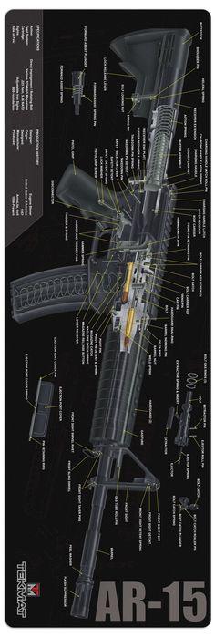 AR-15 3D Cutaway AR-15 Firearm Rifle Gun Maintenance Mat By Tekmat @aegisgears