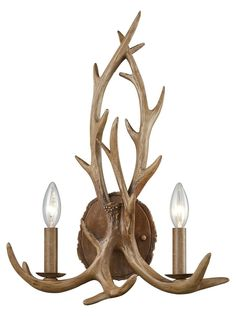 The Elk collection will give any space the feeling of the great outdoors. Finished in Wood Brown, this two-light wall sconce features a rustic antler design. Rustic Wall Lighting, Rustic Wall Sconces, Elk Lighting, Rustic Walls, Wall Sconce Lighting, Candle Sconces, Antler Chandelier, Rustic Chandelier, Antler Lamp