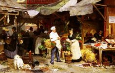 Victor Gabriel Gilbert (French, 1847-1933) - The Maubeuge Market, 1877