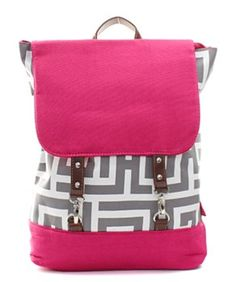 """Material:Canvas   Size: 13 """"L X 6 """"D X 16 """"H*Fashion Backpack*Zipper Top for School Binder*Monogram Ready Flap with Buckles*Adjustable Shoulder Straps*Single Carry Faux Leather Handle*Greek Key"""