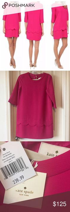 Kate Spade Demi-Sweetheart dress. Hot Pink. Size 4 New MARKDOWN Kate Spade, size 4, NWT, hot pink, Demi-sweetheart dress with a scalloped bottom. 3/4 sleeve. Vintage style to it. kate spade Dresses