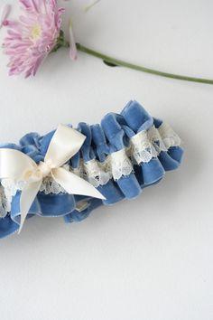 Custom blue velvet & ivory wedding garter-by The Garter Girl