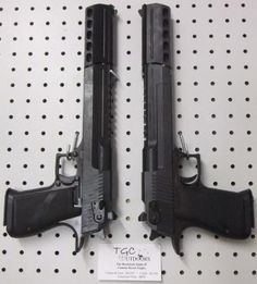 Almost what the Brothers MacManus used in the Boondock Saints flicks Desert Eagles .50 - the ones in ASD had custom-made suppressors
