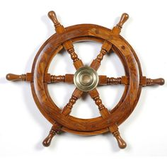 """Wooden Ship Wheel 12"""" ($39) ❤ liked on Polyvore featuring fillers, brown fillers, brown, summer fillers, fillers - brown, doodle and scribble"""