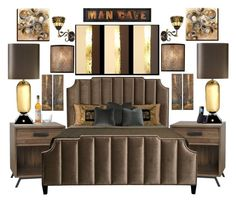 """""""ManCave"""" by bcurryrice on Polyvore featuring Bernhardt, Jonathan Adler, Dale Tiffany, Feiss, Uttermost, Aurelle Home, Panasonic and Alessi"""