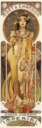 """She jeeps moet & chandon, in her prêt t'y cabinet"".Alphonse Mucha (Czech, 1860 - Poster for ""Moet & Chandon: Dry Imperial"", Color Lithograph, 60 x 20 cm. Design Art Nouveau, Art Nouveau Poster, Art Deco, Art Design, Art Nouveau Mucha, Art Nouveau Tattoo, Moet Chandon, Art Vintage, Vintage Posters"