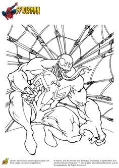 Illustration à colorier de Venom qui sort la langue, la version maléfique de Spiderman