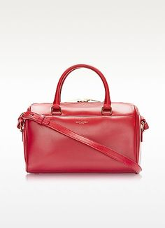 SAINT LAURENT Classic Baby Duffle Bauletto In Pelle Rossa. #saintlaurent #bags #suede #