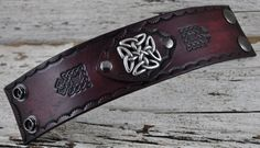 Celtic Traveller Mens Brown Leather Cuff by Northernleather